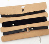Trendy Black color chokers set