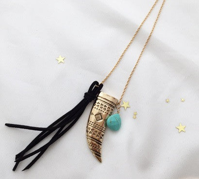 Tassel and Horn Necklace