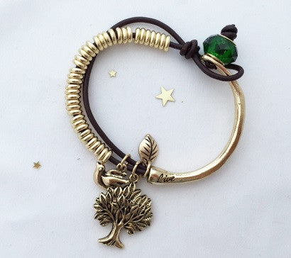 Tree and Pigeon tie bracelet