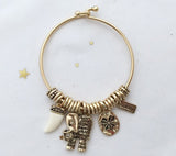 Elephant and Lucky charms bangle