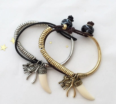 Elephant and tie bracelet