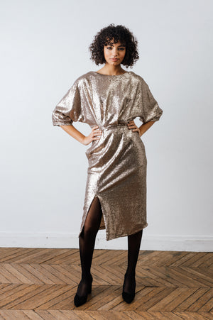 ROBE JEANNE SEQUINS NUDE