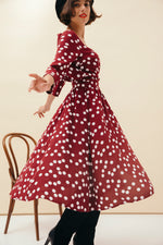 ROBE HERA POLKA BORDEAUX