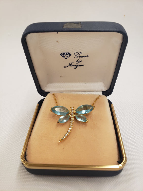 Vintage Jeweled Dragonfly Pendant