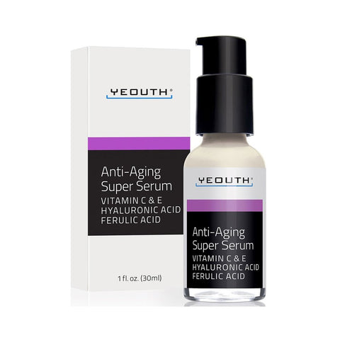 Anti-Aging Super Serum + Vitamin C & E, Hyaluronic Acid, Ferulic Acid