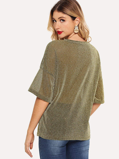 Dropped Shoulder Mixed Print Glitter Tee