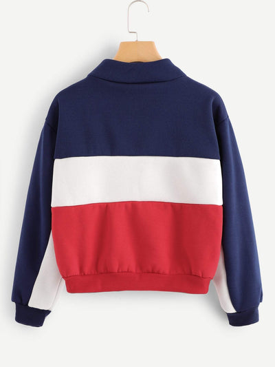 Color Block Striped Zip Up Sweatshirt