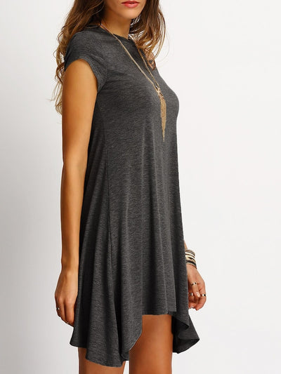 Asymmetrical Hem Heathered Tee Dress