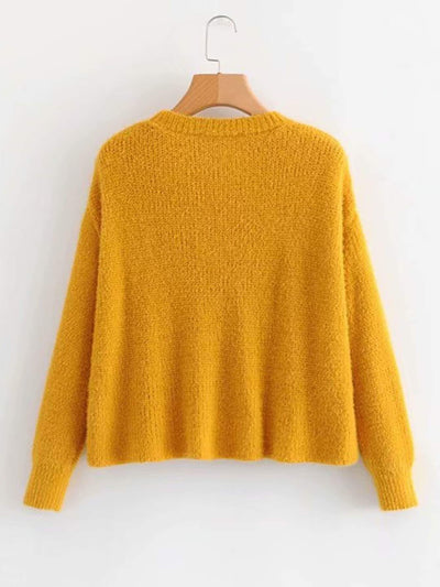 Drop Shoulder Solid Sweater