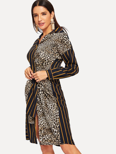 Knot Detail Leopard Print Shirt Dress