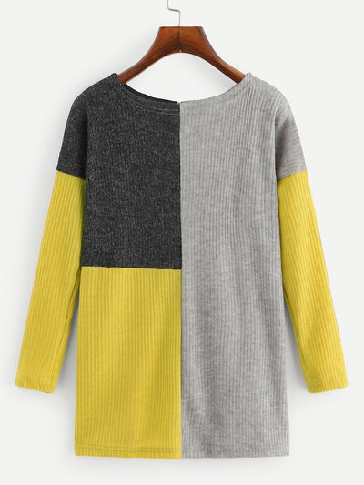 Cut And Sew Panel Ribbed Sweater