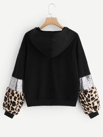 Drop Shoulder Leopard Print Drawstring Hoodie