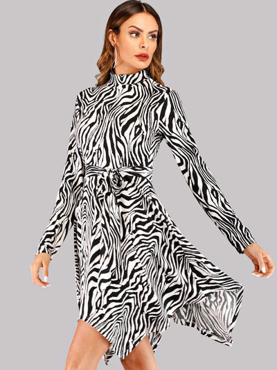 Zebra Print High Neck Asymmetrical Hem Dress
