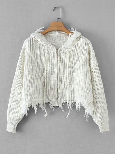 Frayed Hem Drawstring Hooded Sweater