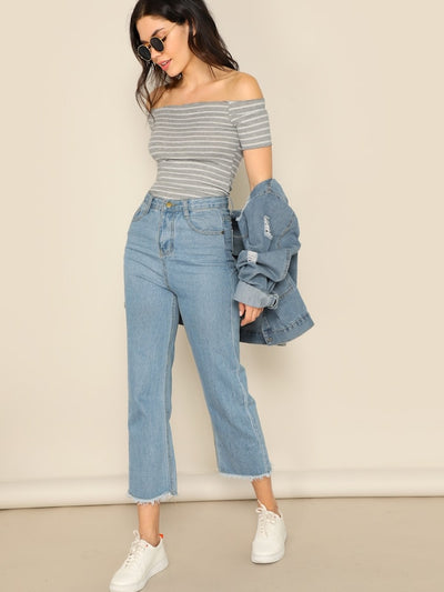 Off Shoulder Rib-knit Striped Tee