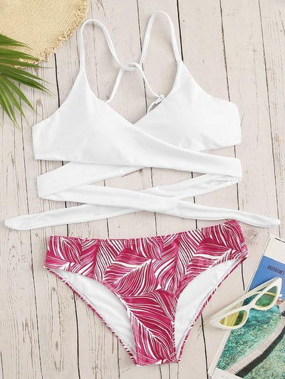 Criss Cross Wrap Top With Leaf Print Bikini Set