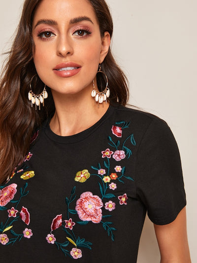 Floral Embroidery Front Top