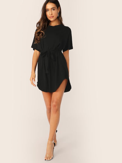 Dolphin Hem Belted Tee Dress