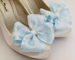 Lace Bow Shoe Clips For Bridal Shoes Ivory Lace With Blue Satin Something Blue