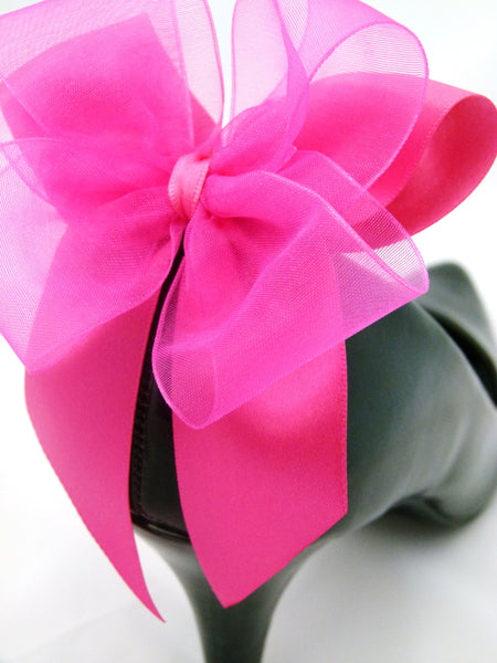 Burlesque Bows Shoe Clips For Heels in Fuschia Pink Party Shoes Prom Shoes
