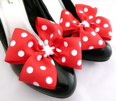 Polkadot Shoe Clips 1 Pair Minnie Mouse Bows 4 Shoes x