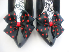 Dorothy Shoe Bows Black with Red Polkadots Shoe Clips