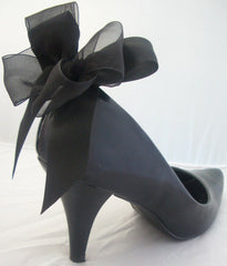 Burlesque Bows Shoe Clips For Heels in Black Party Shoes Prom Shoes Satin