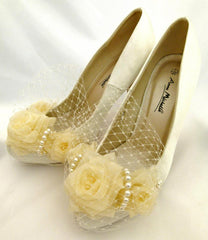 White, Ivory Satin Birdcage Veil Bridal Shoes Fresh Water Pearl Heels Fairytale Slippers..... x