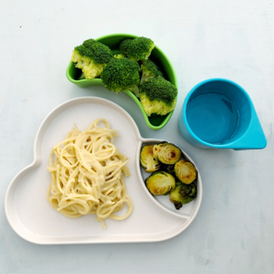 Creamy Cashew Spaghetti with Roasted Brussel Sprouts