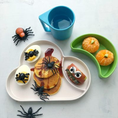 Pumpkin Purée Pancakes with Devil's Eggs & Fruit