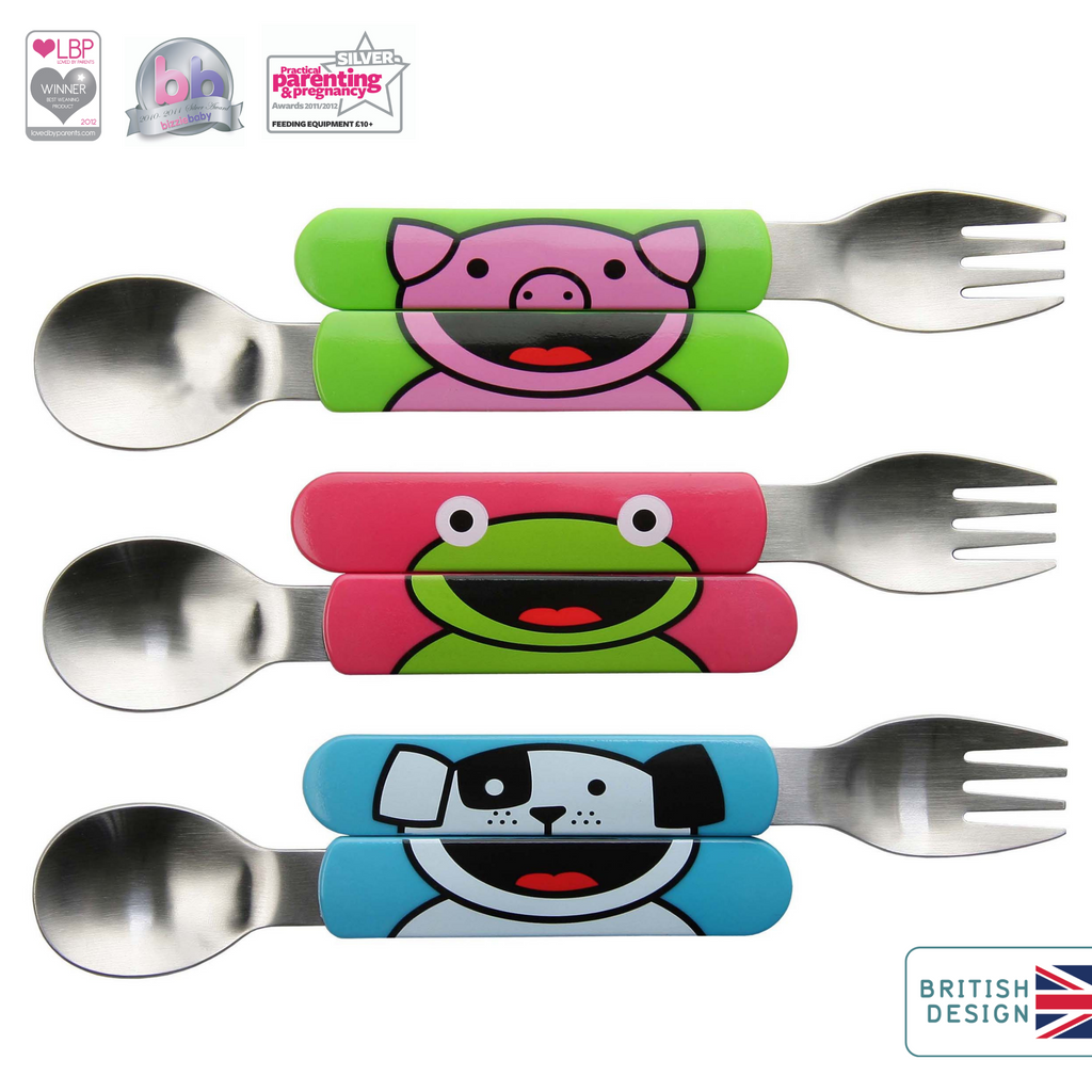 All Day Toddler Cutlery Set, Pig, Dog & Frog