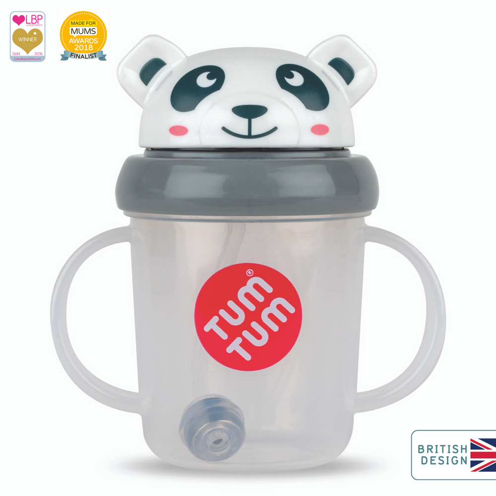 Tippy Up Sippy Cup with Weighted Straw (Valve Free), Pip Panda, 200ml