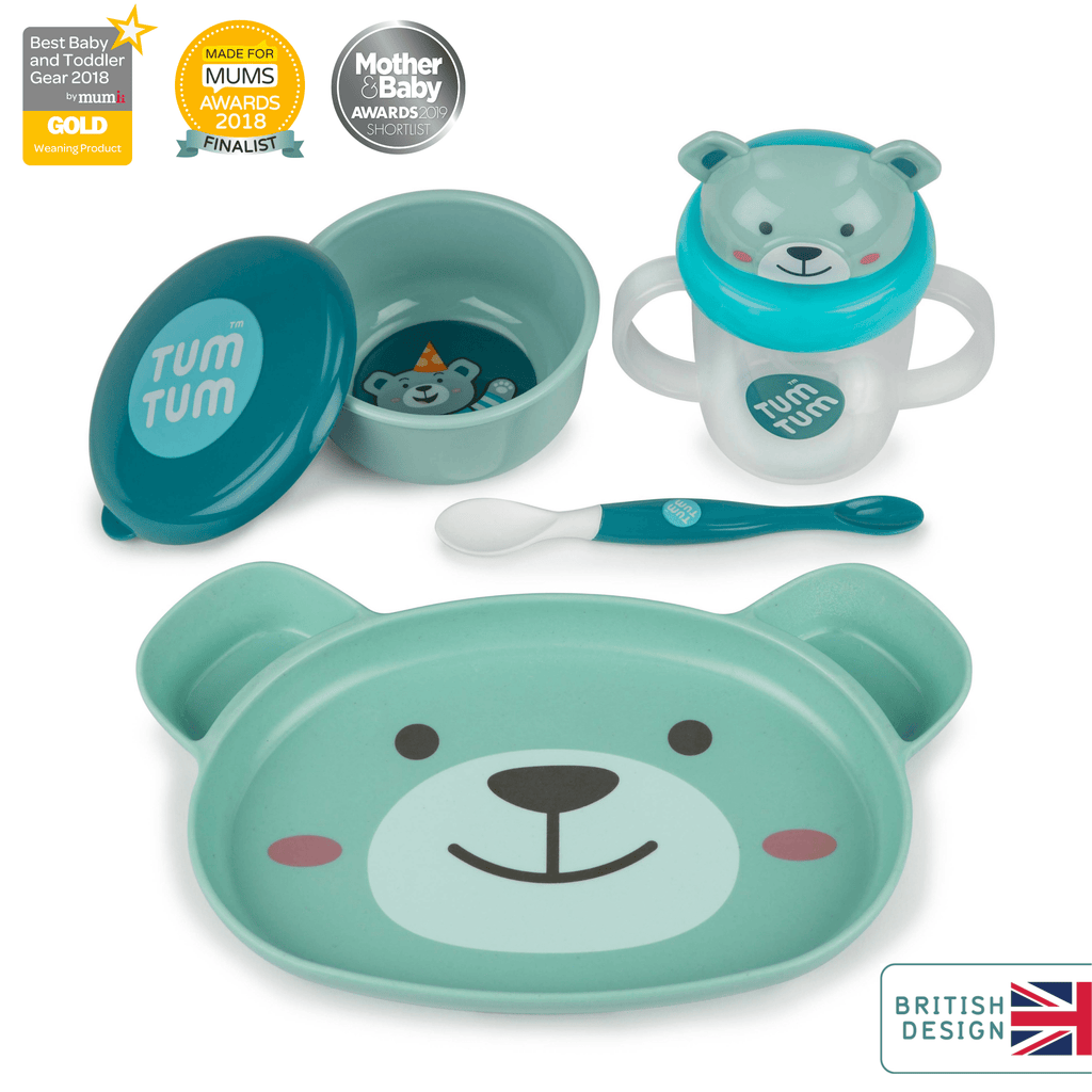 Baby Dinner Set for Weaning, with removable suction base, Boris the Bear
