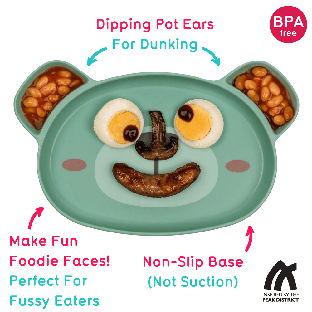 Toddler plate with removable suction base