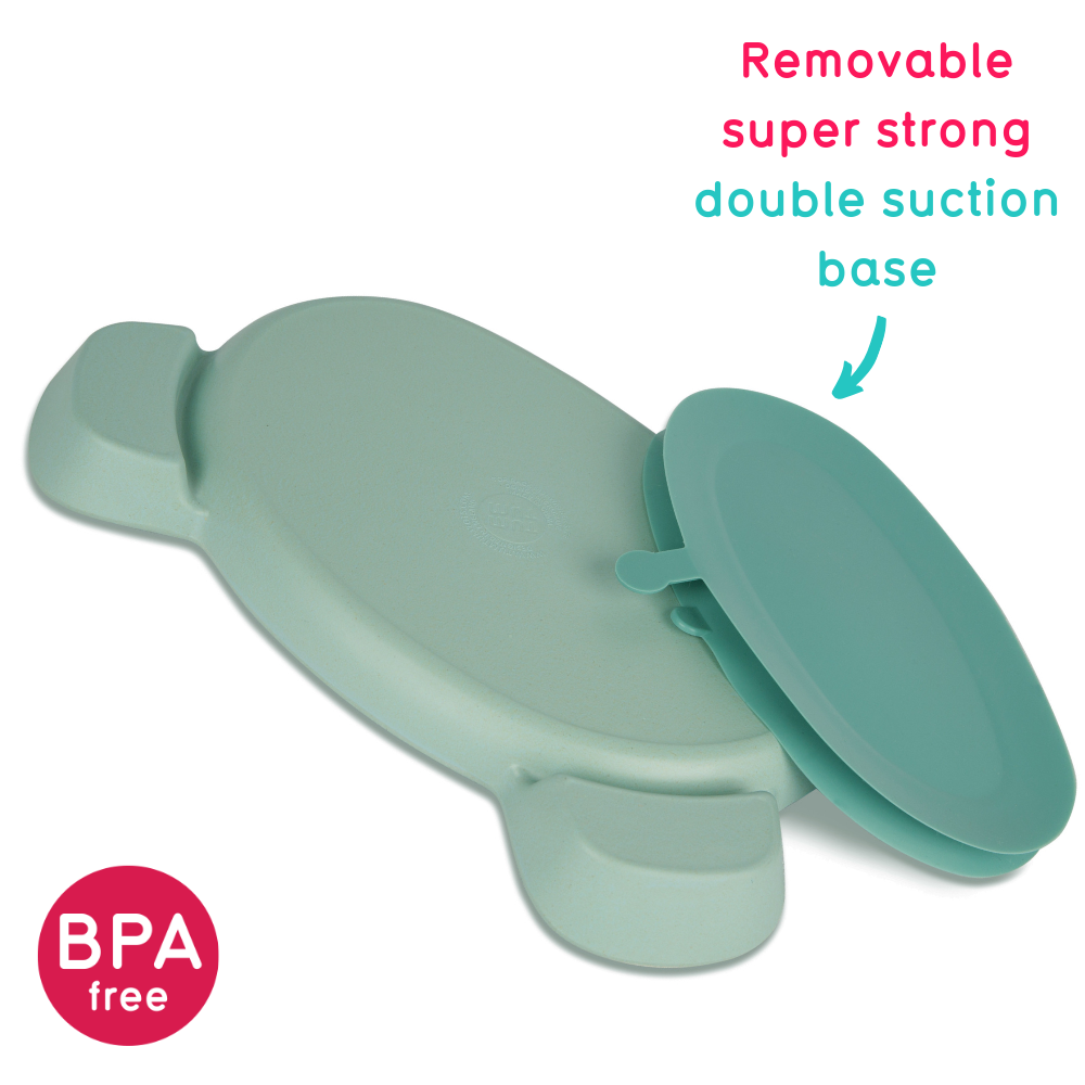 Bamboo Baby Suction Plate, with removable suction base, Boris Bear