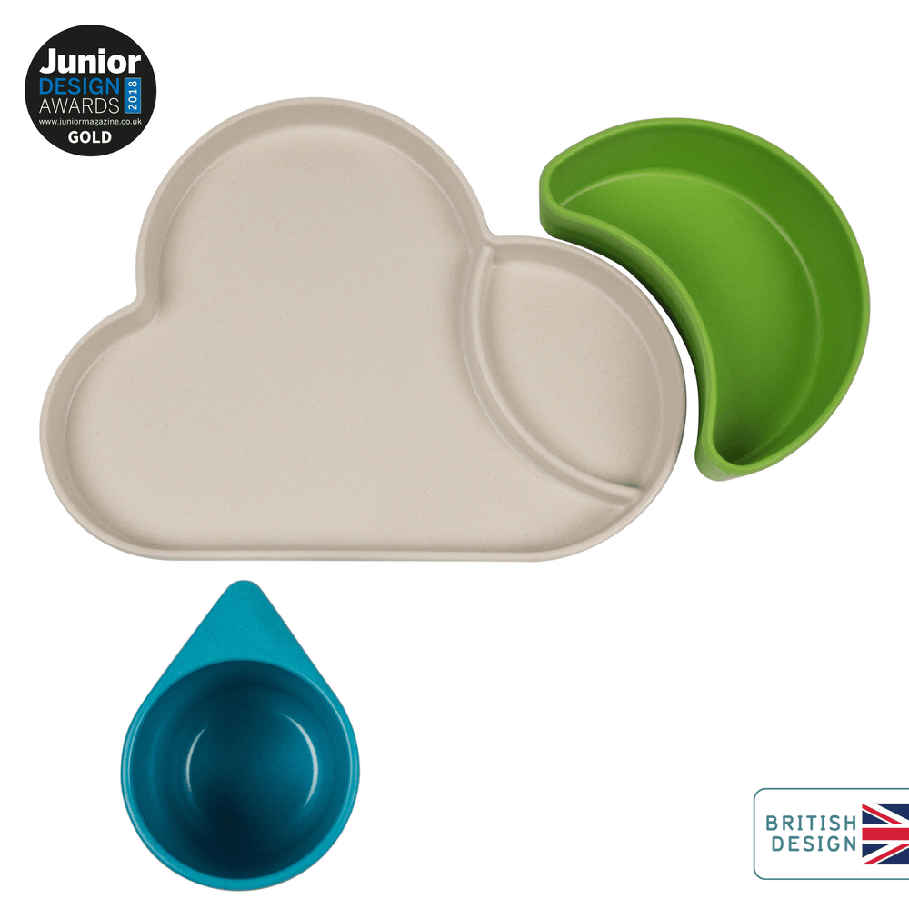 Bamboo Kids Dinner Set, Cloud, Blue/Green