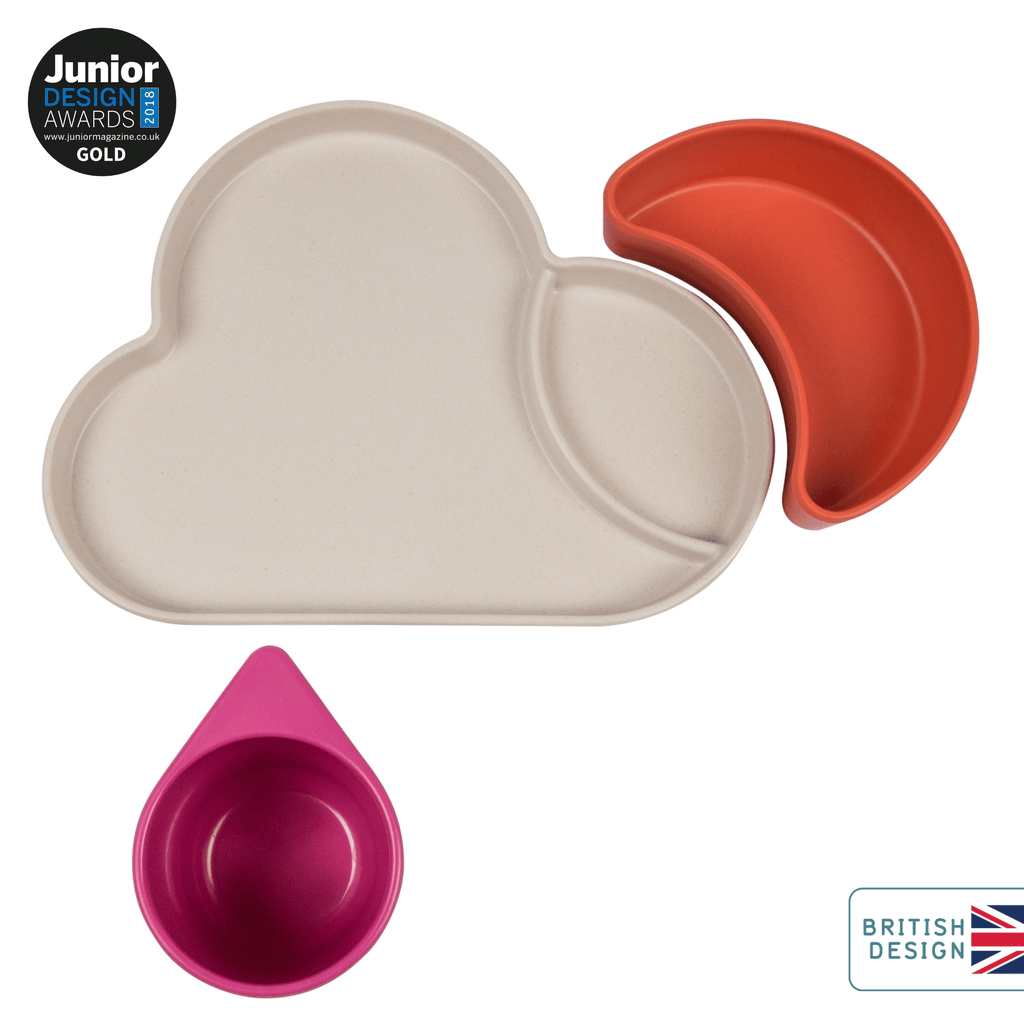 Bamboo Kids Dinner Set, Cloud, Pink/Orange