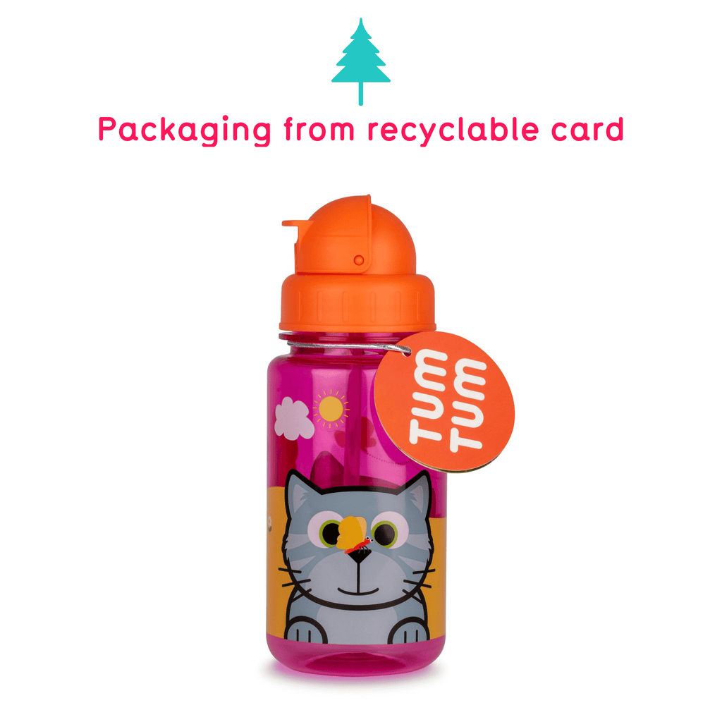Flip Top Kids Water Bottle with Straw, Bluebell the Cat, 400ml