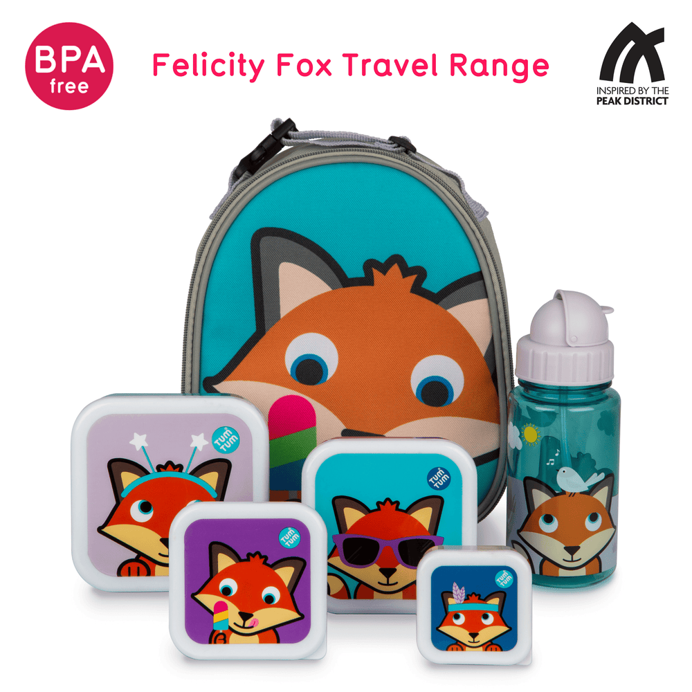 Flip Top Kids Water Bottle with Straw, Felicity Fox, 400ml