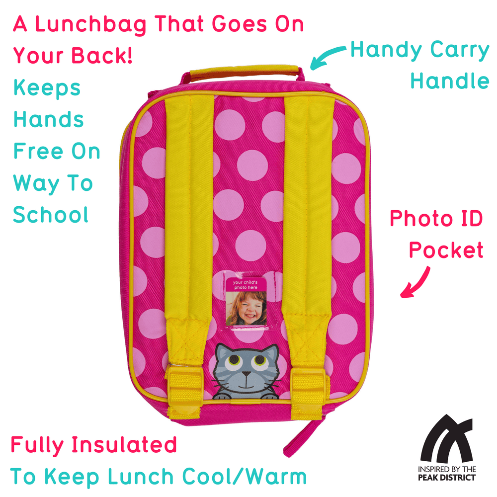 Insulated Backpack Style Lunch Bag for Kids, Bluebell the Cat