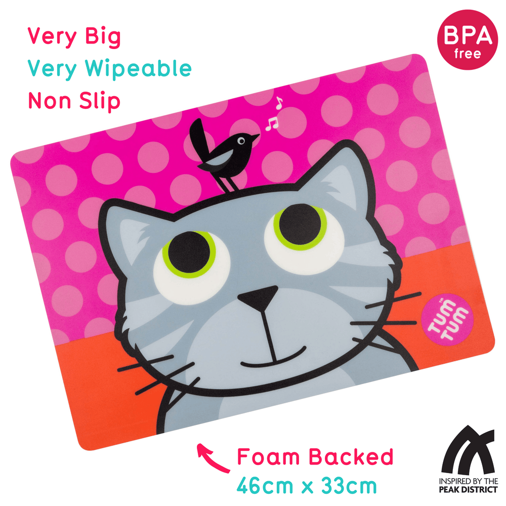 Large, Easy Wipe Kids Placemat, Bluebell the Cat