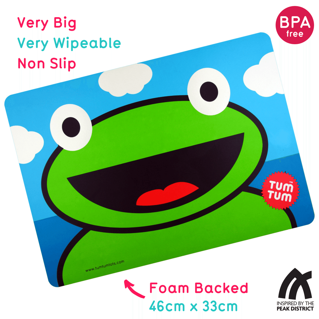 Large, Easy Wipe Kids Placemat, Ribbit the Frog