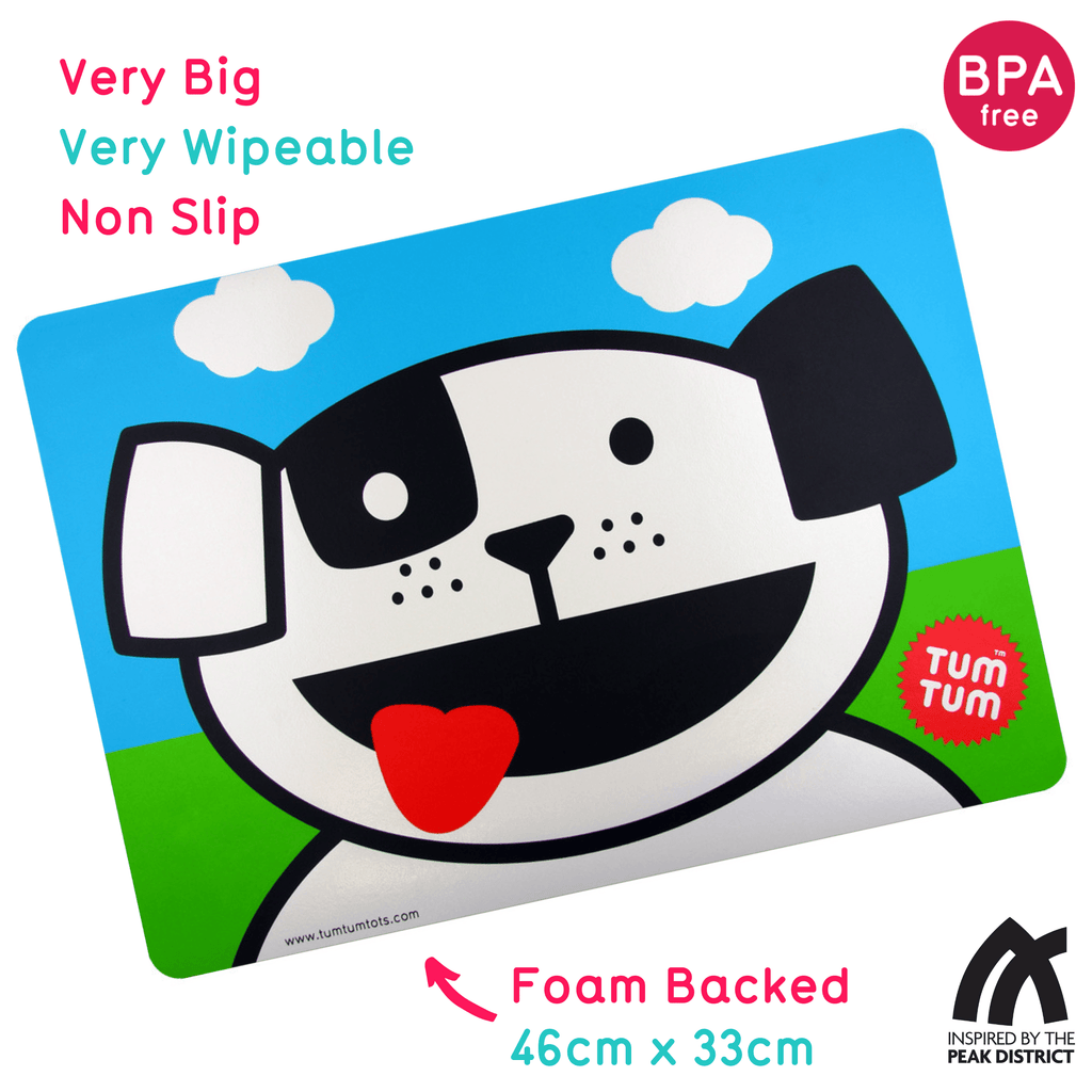 Large, Easy Wipe Kids Placemat, Woof the Dog