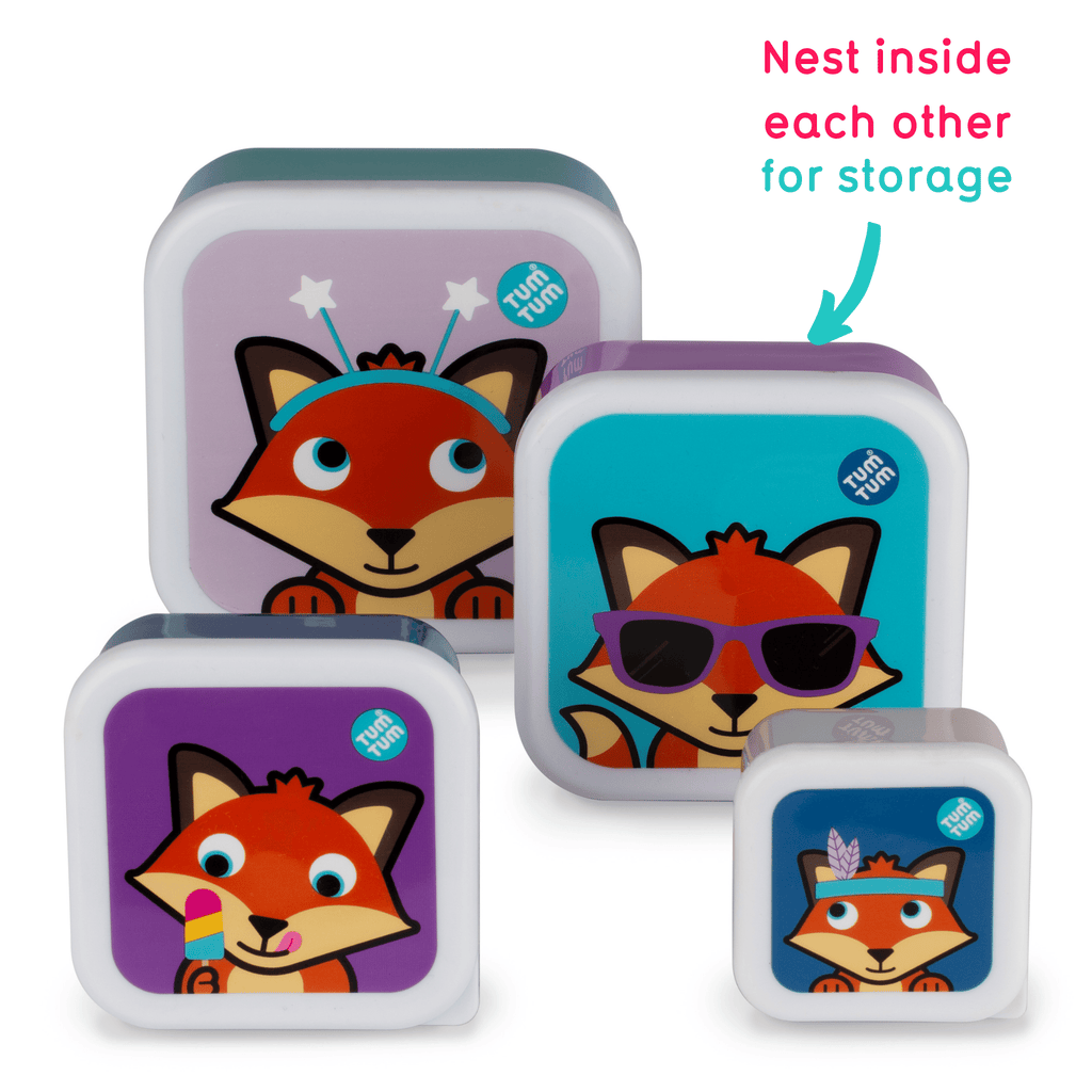 Set of 4 Nesting Snack Pots for Kids, Felicity Fox