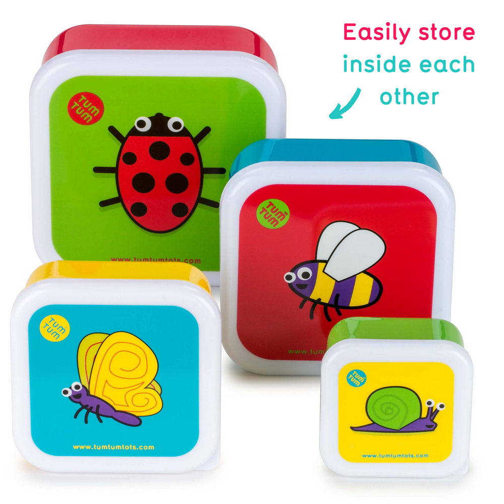 Set of 4 Nesting Snack Pots for Kids, Bugs