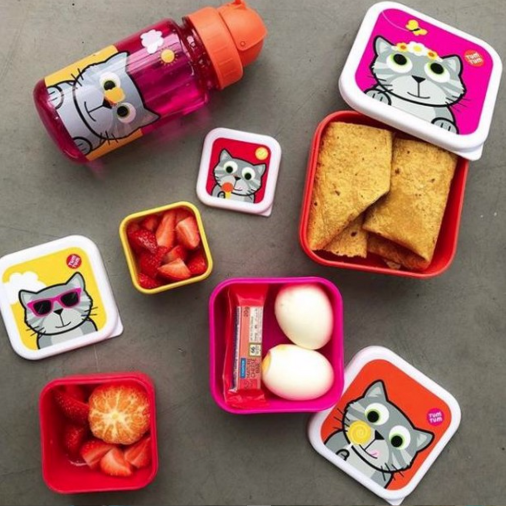 Set of 4 Nesting Snack Pots for Kids, Bluebell the Cat