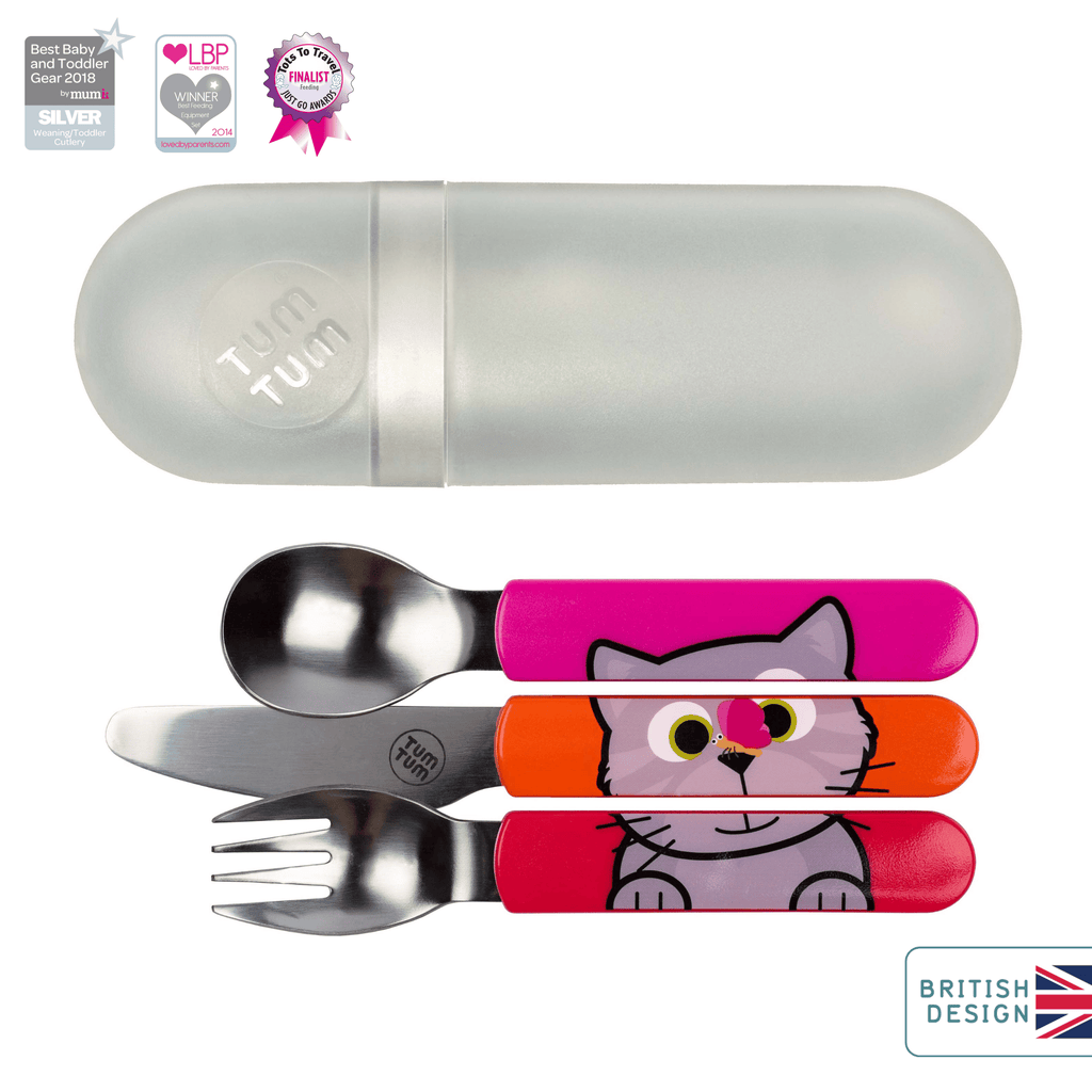 Kids travel cutlery set, cat