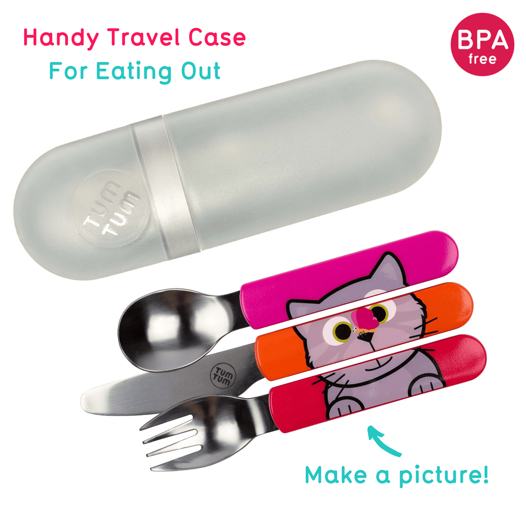 Easy Scoop Toddler Cutlery with Travel Case, Bluebell the Cat