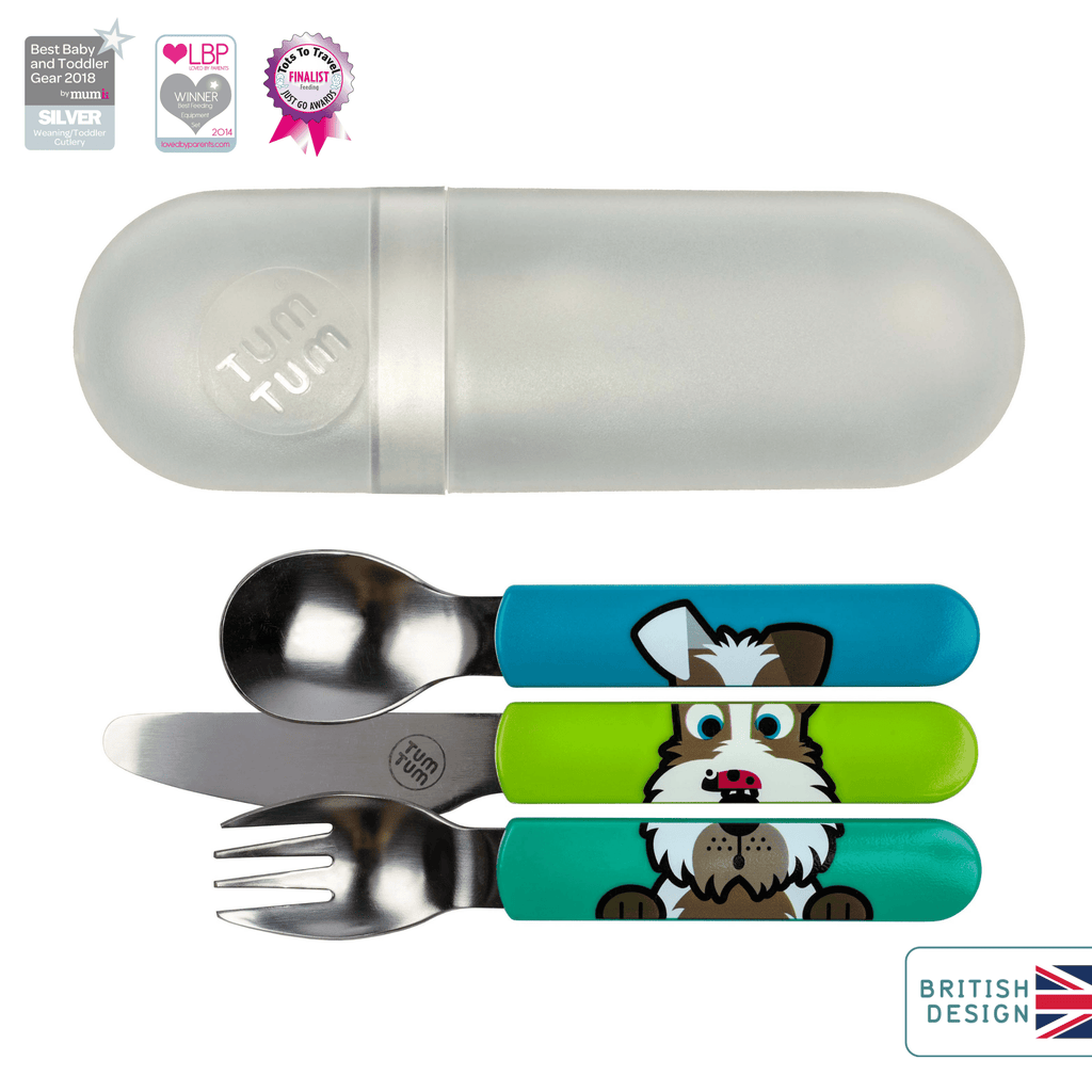 Toddler cutlery set with travel case, dog