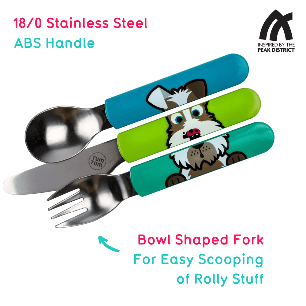 Kids travel cutlery set, dog